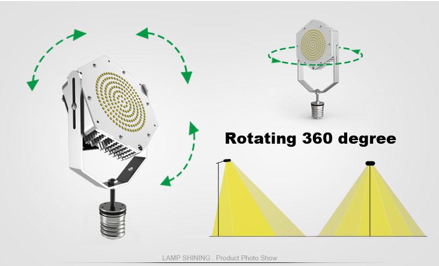 150w led parking lot retrofit kit light rotating 360 degree
