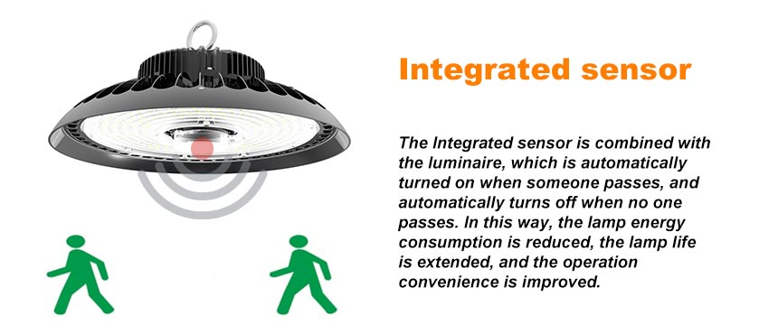 100w ufo led high bay light with integrated sensor