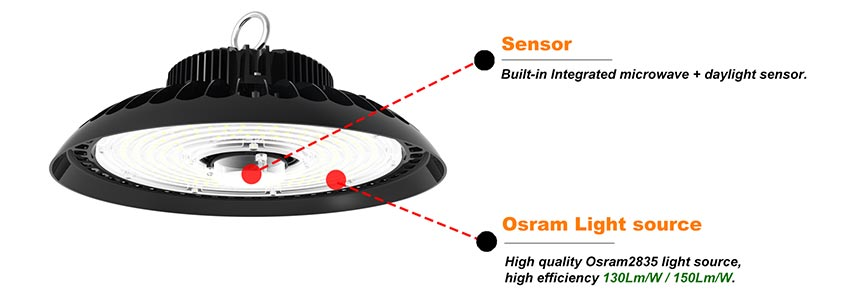 100w ufo led high bay light with sensor and used osram 2835 light source