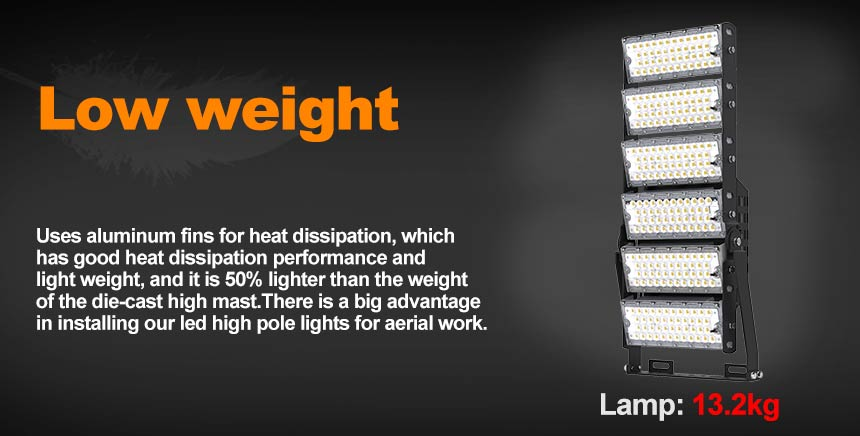 low weight 720w led high mast lighting