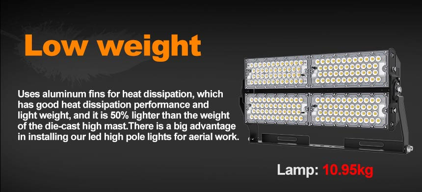 low weight 480w led flood high mast lights