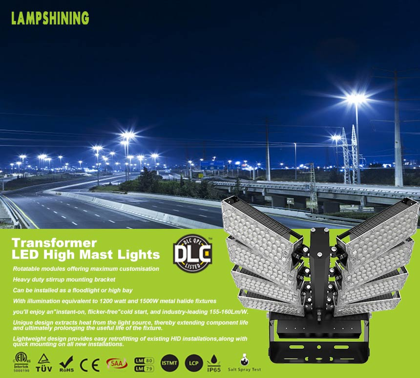 800w stadium high mast module rotatable led lighting fixtures
