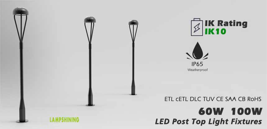 LED Post Top Light Fixtures 60w 100w