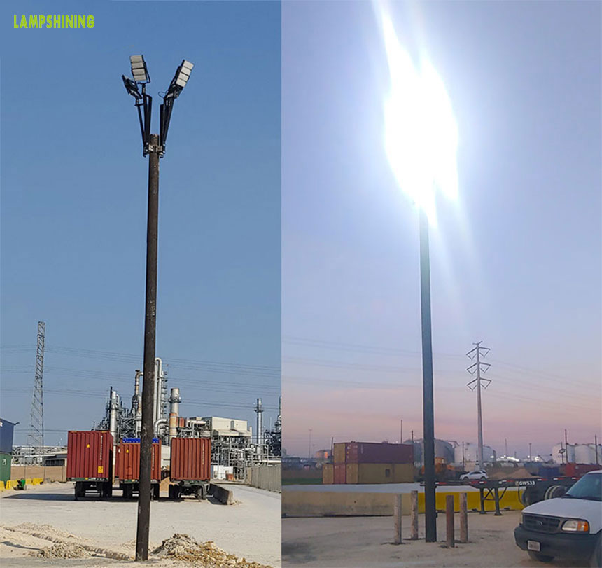 300w led flood high mast pole light project