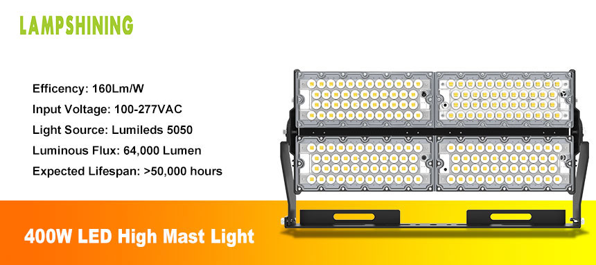 400W LED high pole lighting fixtures show