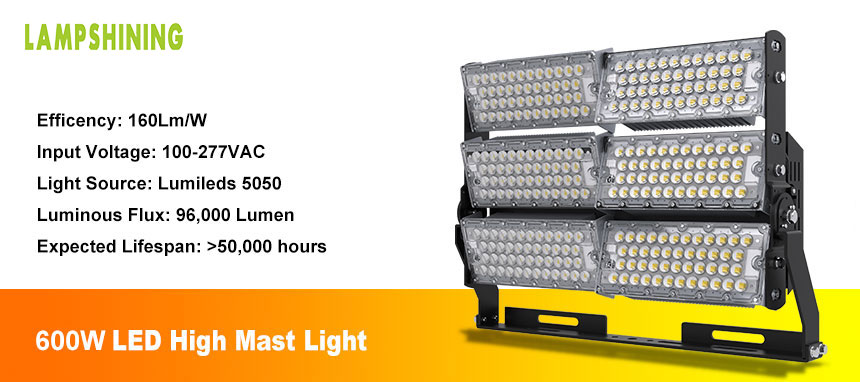 600W commercial led high mast light show