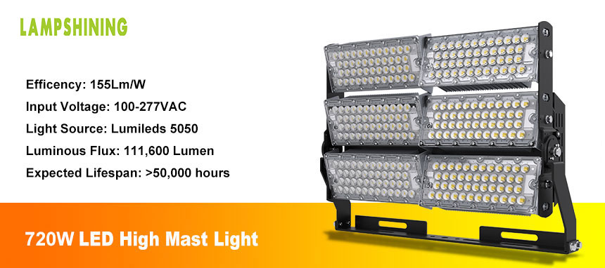 outdoor 720w led high mast light show