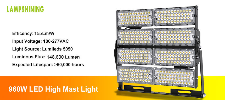 Outdoor Commercial 960W Industrial LED high mast Flood Lighting