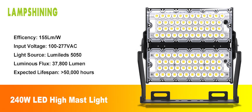 240w outdoor led flood light for high mast lighting introduce