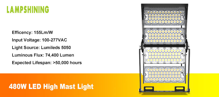 480W LED Stadium Lights Outdoor, Arena LED Flood Light, Stadium High Mast with Light Shield
