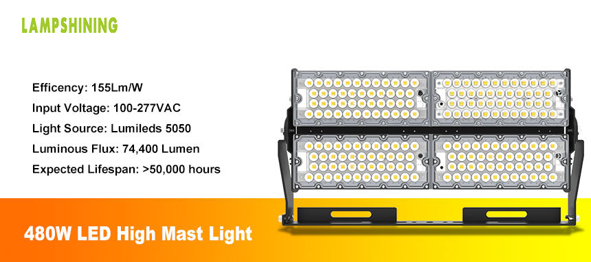 480w High Pole LED Flood Light For Stadium Sports Tunnel
