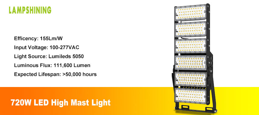 Height 20-30M 720w LED High Mast Pole Lights for Stadium
