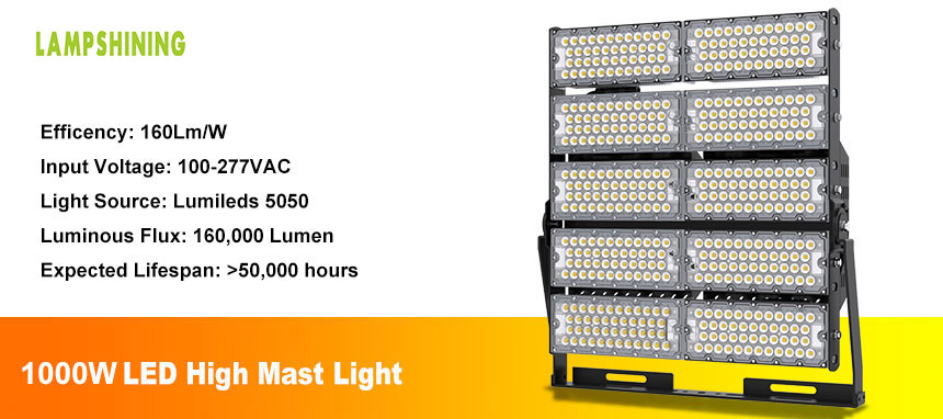 1000W area lighting led high mast lamp introduce