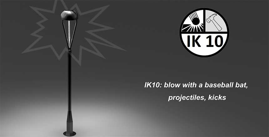 60w led top post light IK10 protection