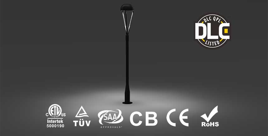 60W led top post light DLC IECEE TUV SAA CE RoHS CB certification