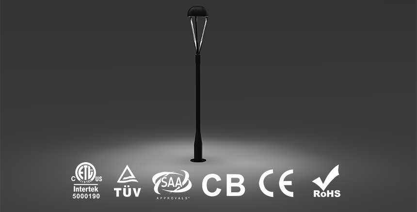 fence post top led lights passed DLC ETL TUV SAA CE IECEE CB RoHS certification