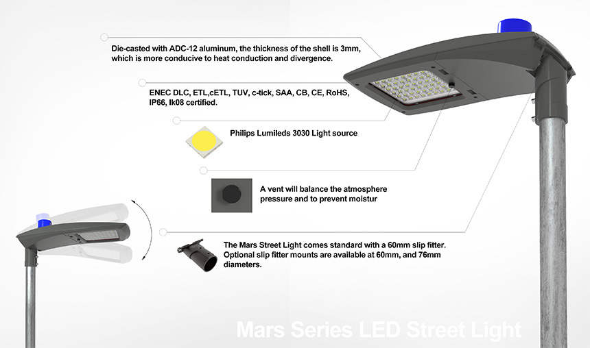 high power high lumen 200w mars led street light advantage