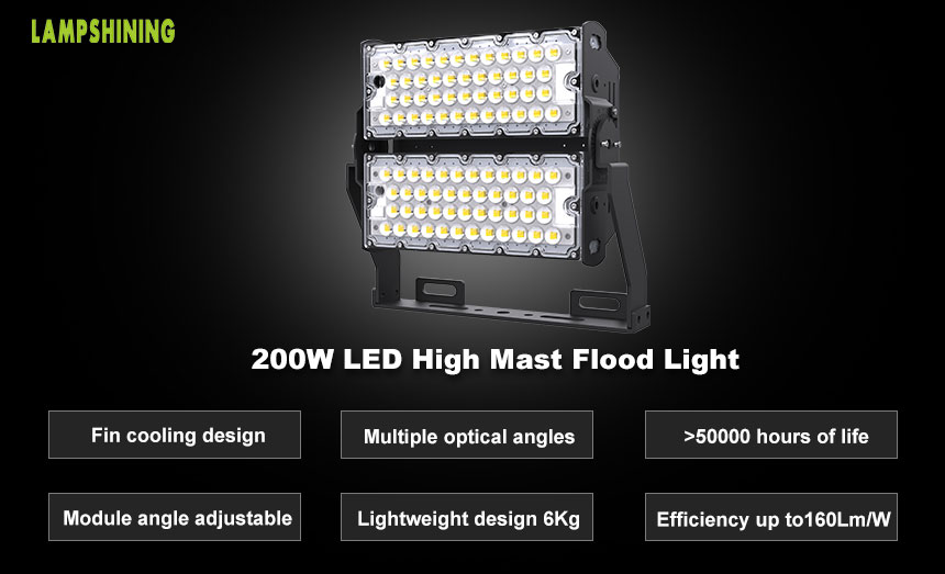 200W LED High Mast Light Fixtures-TUV CE Certified-32000 Lumens