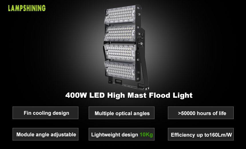 400W-A TUV LED High Mast Light,64000Lumens,Flood Luminaire,Outdoor LED Lighting