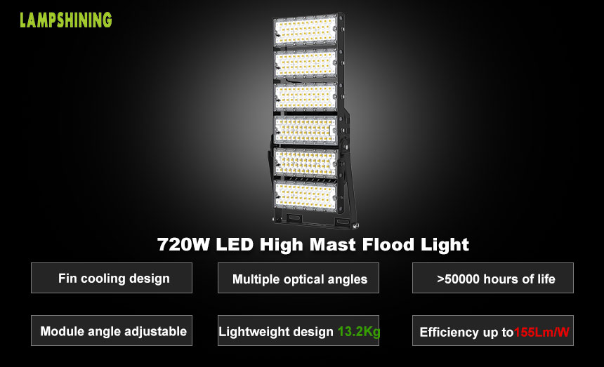 720w LED Lighting for Stadiums,CE,CB,111600 Lumens,Sport Light,High Mast Light