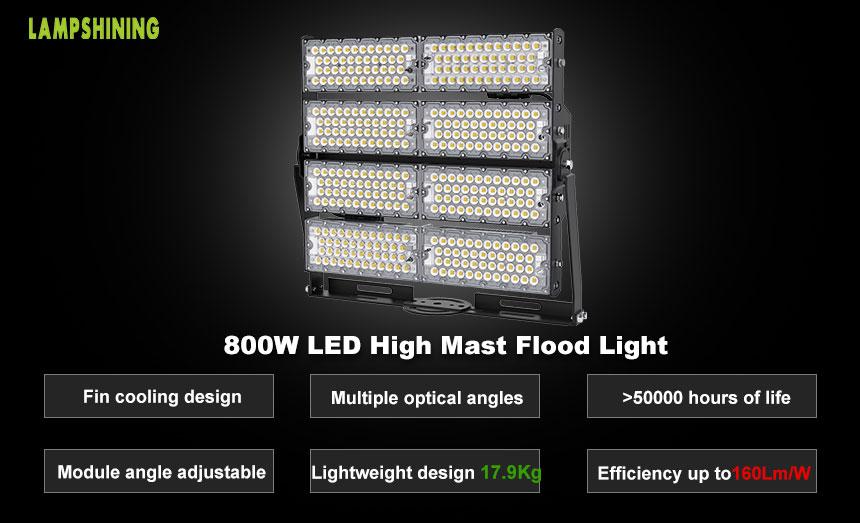 800W TUV SAA Industrial Wharfs LED High Mast Light for sale