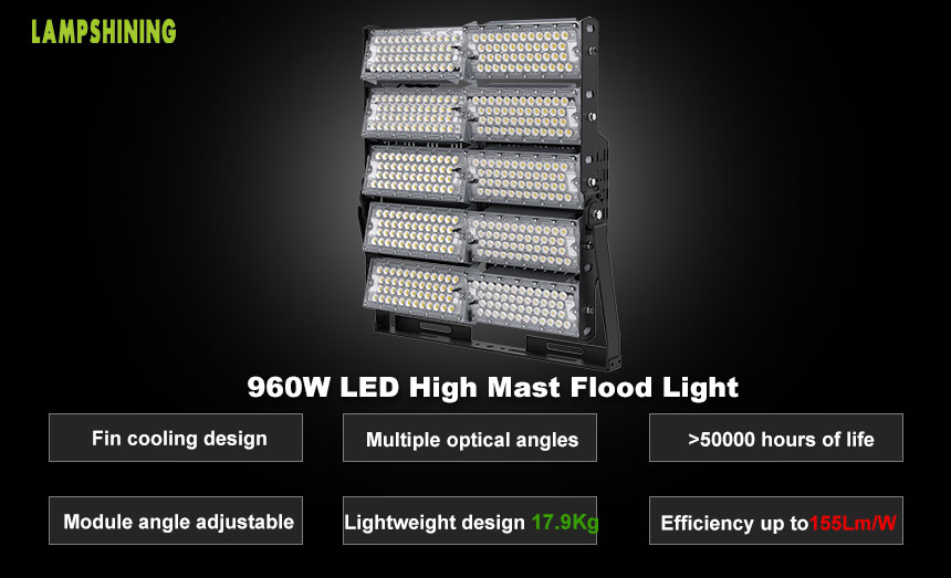960W TUV SAA Outdoor Commercial LED High Pole Flood Lights in china