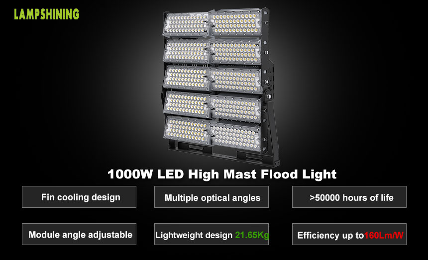 1000W Large Area Square, Airport LED High Mast Light characteristic