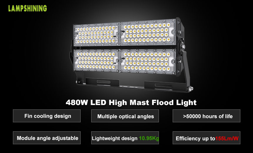 480W TUV CE LED Wharf, Park Flood High Mast Lighting