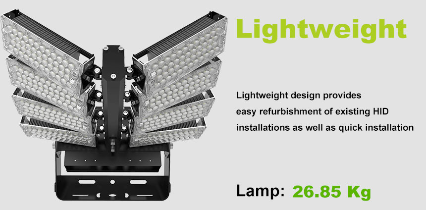 960W 100-277VAC LED Stadium High Pole Lights Fixture lightweight design
