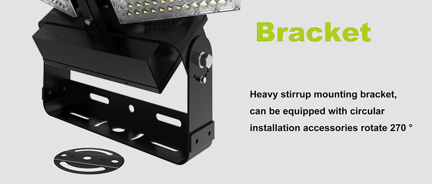 1200W adjustable module led high mast large area pole flood light bracket design