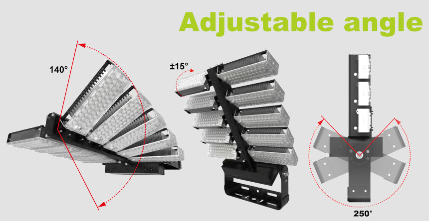 1000w DLC Sports Flood Lights-High Mast Stadium Light Illuminator adjustable module angle design
