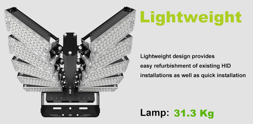 1000w DLC Sports Flood Lights-High Mast Stadium Light Illuminator lightweight design
