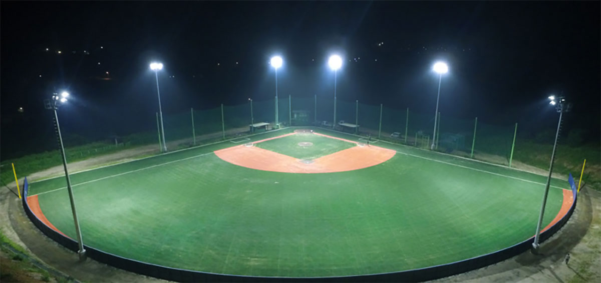 Shoot the lighting of the baseball field from a height