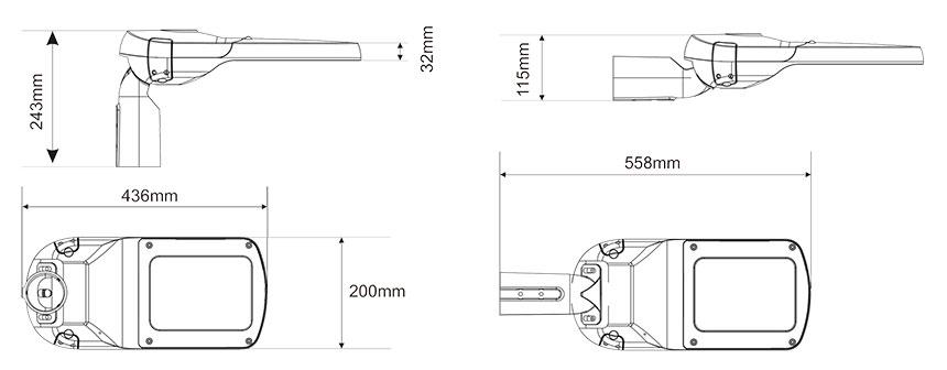 high quality 60 watt LED Street Light Fixtures size