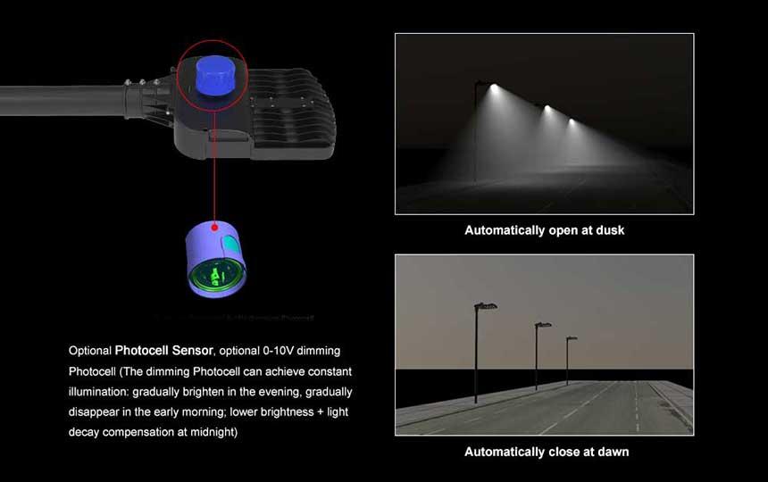 80w 12000lm venus led street light with 0-10v photocell