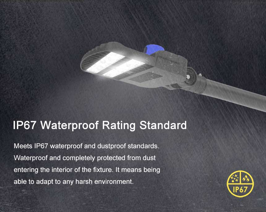 100w 14500lm LED street light have a protection index of IP67