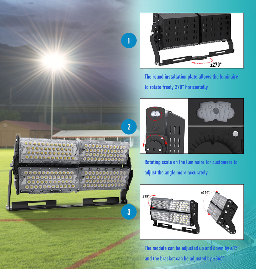 400W 64000lm Super Bright Outdoor LED Flood high mast lights rotatable module description