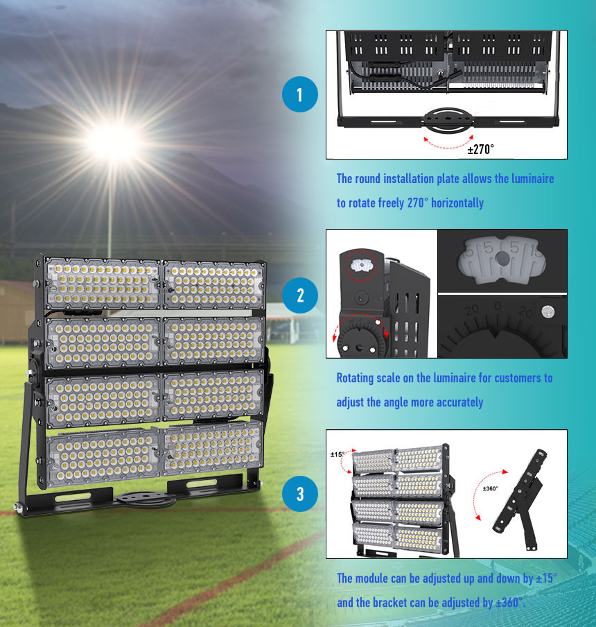 800w sports field high mast led light adjustable module angle description