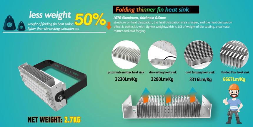 120W sports field led light uses 1070 aluminum lightweight heat sink material