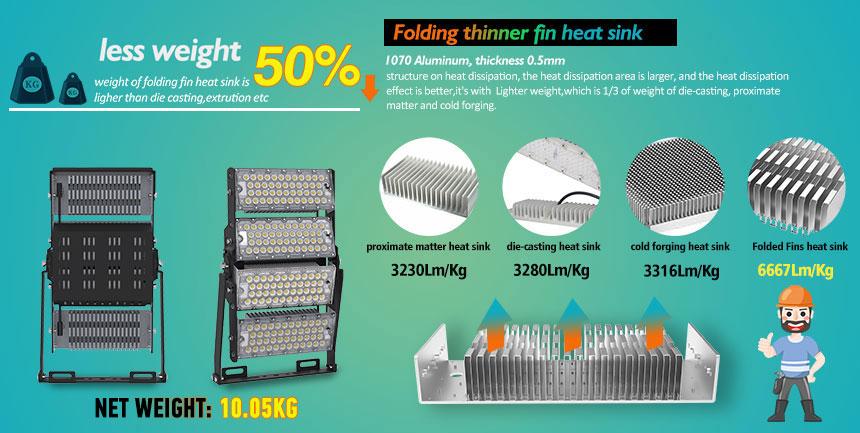 480w LED stadium high mast Light uses 1070 aluminum lightweight heat sink material