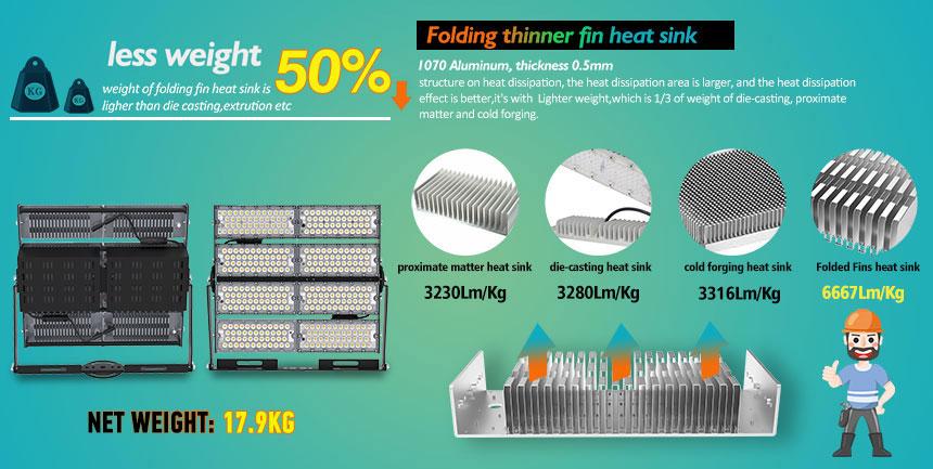 800w led high mast light uses 1070 aluminum lightweight heat sink material