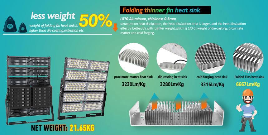1000w sports led high mast flood lights less weight design