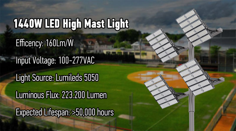 1440w led high mast light for baseball park