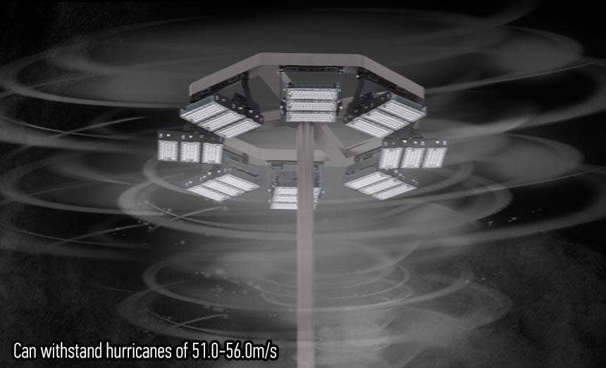 LED Stadium high mast Lighting can withstand hurricanes