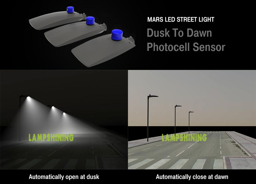 Mars LED street lights with dusk to dawn phtotcell sensor