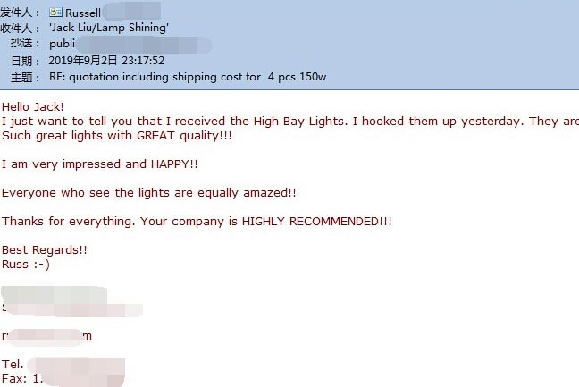 150w led flat high bay light Customer feedback letter