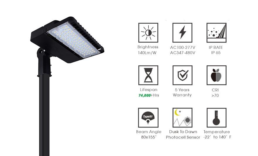 150w led shoebox light features