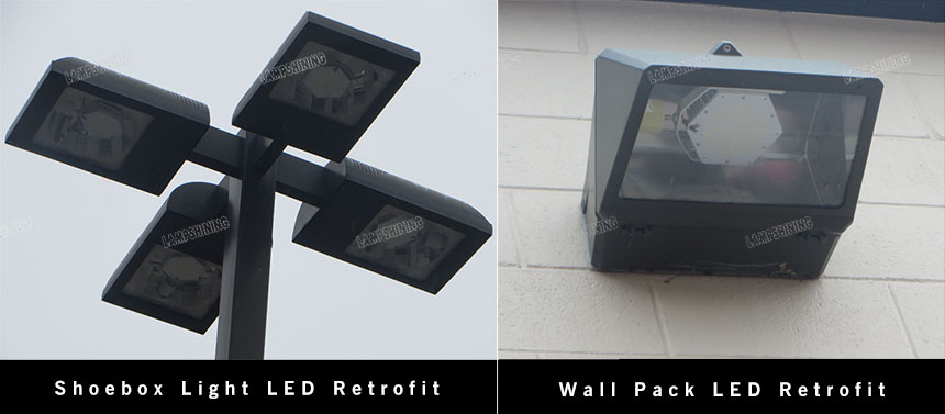 commercial outdoor parking lot lights adn wall pack led retrofit