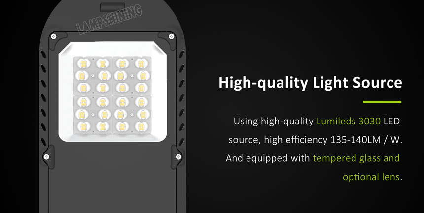 40w lumileds 3030 saturn led street light with tempered glass and optional lens