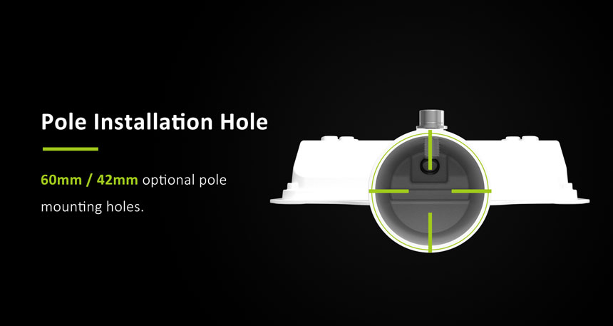 40w led street light pole installation holes 60mm/42mm